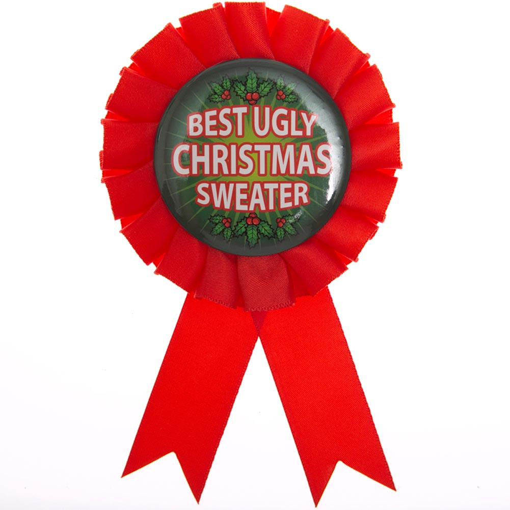 "'Tis The Season For Ugly Sweaters. Your family and friends will love competing for this ""Best Ugly Christmas Sweater"" Rosette Ribbon Button! The winning party guest will be proud to wear this button award during your silly celebration! Award pin is approximately 3 1/2 x 6. Ugly sweater ribbon is made of cloth with a circular pin in the middle. Make memories this Christmas with fun holiday favors, toys, and gifts. Stock up on everything you need to make your Christmas season complete!"
